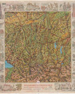 BAVARIA, Germany: Standard-Luftbildkarte. Bayerisches Hochland, Westlicher Teil. Luftbildkarte für Kraftfahrer.
