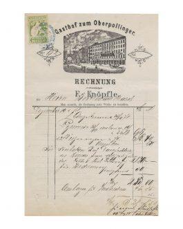 BAVARICA / MUNICH / EPHEMERA: Gasthof zum Oberpollinger. Rechnung. F. Knöpfle