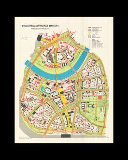 DRESDEN / COMMUNIST URBAN PLANNING / DESTRUCTION OF HISTORICAL MONUMENTS: Gesamtbebauungsplan Zentrum. Prognostische Entwicklung. Stand 1. Januar 1967