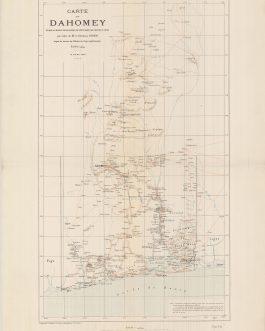BENIN (DAHOMEY):  Carte du Dahomey, établie au bureau topographique de l'état-major des troupes du Bénin, par ordre de M. le Général Dodds, d'après les travaux des Officiers du Corps expéditionnaire. Échelle à 1/500.000. 15 mars 1893.