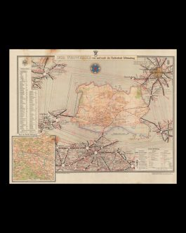 POST-WWII GERMAN CARTOGRAPHY: Der Wegweiser von und nach der Lutherstadt Wittenberg [The Road Map to and from Lutherstadt Wittenberg]