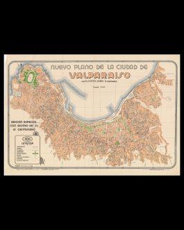CHILE – VALPARAÍSO / ART DECO STYLE / URBANISM:  Nuevo plano de la ciudad de Valparaiso por Alfonso Jara D. (Cartografo).