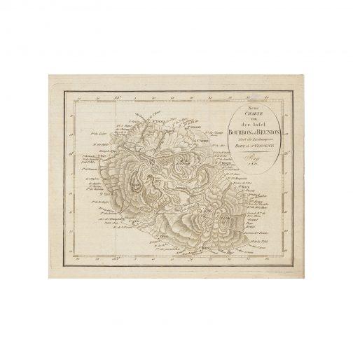 RÉUNION: Neue Charte von der Insel Bourbon od Reunion nach der Zeichnung von Bory de St. Vincent