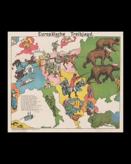 WWI PICTORIAL MAP: Europäische Treibjagd [European Hunting Party]