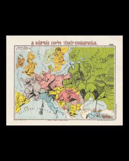 HUNGARIAN PICTORIAL MAP OF WORLD WAR I: A háborús Európa térkép-karikatúrája