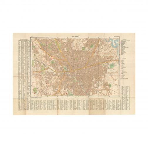 GENERALSTAB DES HEERES, ABTEILUNG FÜR KRIEGSKARTEN. [NAZI GERMANY - GENERAL STAFF OF THE ARMY, WAR MAPS DEPARTMENT]. BUCHAREST, ROMANIA / WORLD WAR II / THIRD REICH CARTOGRAPHY: [2 Maps - Double-sided Sheet:] Bukarest [City and Suburbs] / Bukarest [City Proper]. [Berlin:] Generalstab des Heeres, Abt. für Kriegskarten u. Verm.-Wesen, 1940. Colour off-set print, published on 2 sides, thus featuring 2 maps (Good, light wear along original folds and some toning and light staining to a few panels), 80 x 118 cm (31.5 x 46.5 inches).