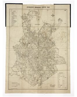 INDIA – HYDERABAD:  Hyderabad Municipal Survey Map.