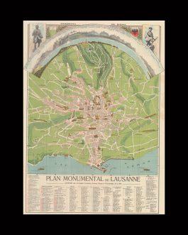 LAUSANNE, SWITZERLAND CITY MAP – PANORAMA: Plan monumental de Lausanne. Légende des principales curiosités, artères , places et promenades. Panorama du signal.