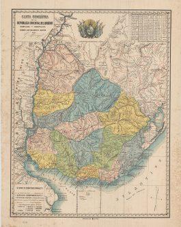URUGUAY / MONTEVIDEO IMPRINT / BROADSIDE MAP: Carta geografica de la republica oriental del Uruguay, compilada y construida sombre los mejores datos por G. Monegal.
