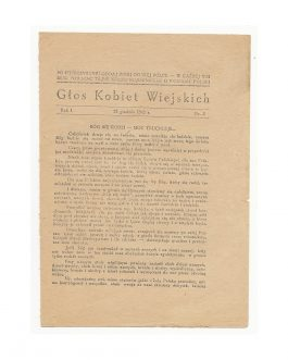 FEMALE FIGHTERS OF THE POLISH RESISTANCE: Głos Kobiet Wiejskich [The Voice of Rural Women. Year 1, Nr. 3]