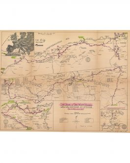 WWII IN NORTH AFRICA / SICILY / D-DAY / FRANCE / GERMANY / SOLDIERS' ITINERARY CARTOGRAPHY:  The Route of The Ninth Division Thru the Natousa & Etousa Nov. 8, 1942 – June 1945.
