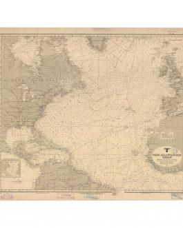 WWII 'BATTLE OF THE ATLANTIC' / U-BOATS / THIRD REICH CARTOGRAPHY:  Nord-Atlantischer Ozean maszstab auf 32° Breite 1: 12 000 000 Linien gliecher magnetischer Maẞweisung für 1940 höhen und tiefen in metern Abkürzungen und Zeichen siehe Karte Nr. 1 1911.
