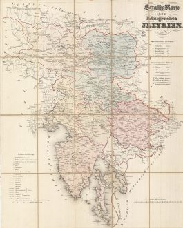 Slovenia / Croatia / Austria: Strassenkarte des Königreichs Illyrien