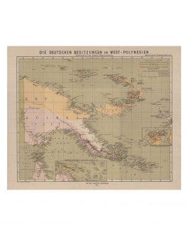 Papua New Guinea / German Colonization: Die deutschen Besitzungen in West-Polynesien. Entworfen von Bruno Hassenstein.