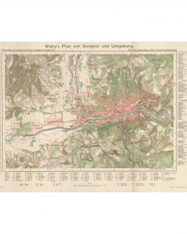SARAJEVO: Walny's Plan von Sarajevo und Umgebung [Walny's Map of Sarajevo and Surroundings]