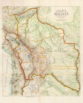 BOLIVIA: Mapa comercial de la República de Bolivia compilado estampado y publicado por Richard Mayer.