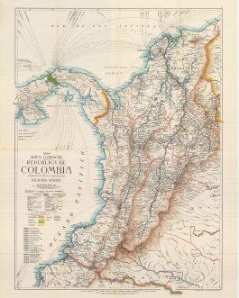 COLOMBIA: Mapa comercial de la República de Colombia compilado estampado y publicado por Richard Mayer.