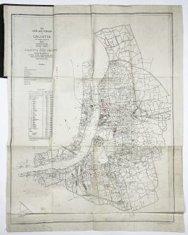 CALCUTTA – FIREFIGHTING: The Town and Suburbs of Calcutta (including Howrah) / Map Illustrating the Annual Report of the Calcutta Fire Brigade showing the Positions of Fires, Fire Stations etc. during the Year ended March 31st 1913.