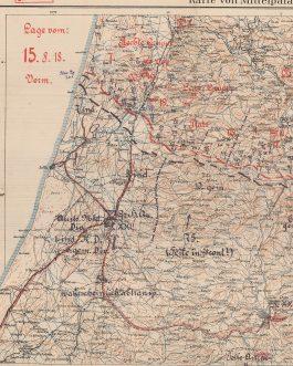 """WWI MIDDLE EAST – BATTLE OF MEGIDDO: Karte von Mittelpalastina. / Ostjordanland südl. Teil. / """"""""Geheim!"""" Lage vom: 15.8.18""""."""